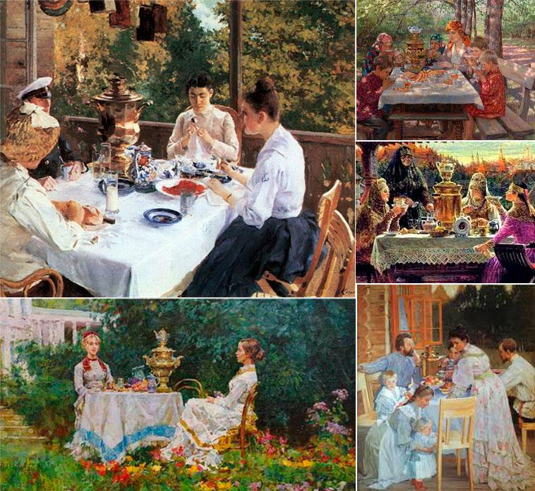 чай у самовара летом в саду или на террасе